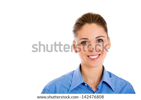 Closeup head shot portrait of confident smiling happy pretty young woman wearing blue shirt, isolated on white background. Positive human emotions, facial expressions, feelings, attitude, perception - stock photo