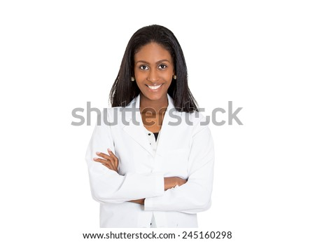 Closeup headshot portrait of friendly, smiling confident female healthcare professional with lab coat isolated on white background. Patient office visit, health care plan management concept  - stock photo
