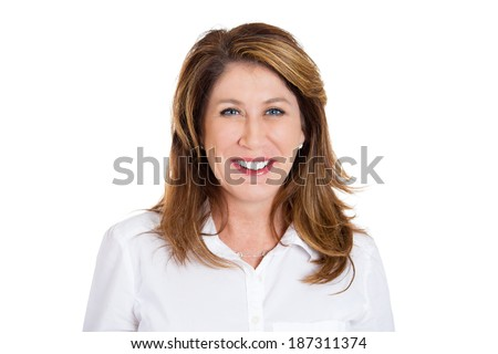 Closeup headshot portrait successful, happy, young business woman, confident, entrepreneur, isolated white background. Positive human face expressions, emotions, feelings, attitude. - stock photo