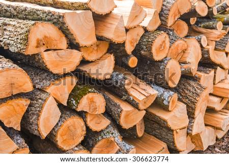 closeup heap of firewoods - stock photo
