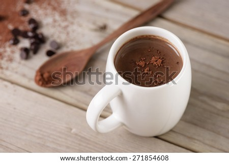 closeup hot chocolate in white mug (shallow depth of field) - stock photo