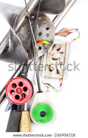 closeup ice fishing tackles and equipment on white background