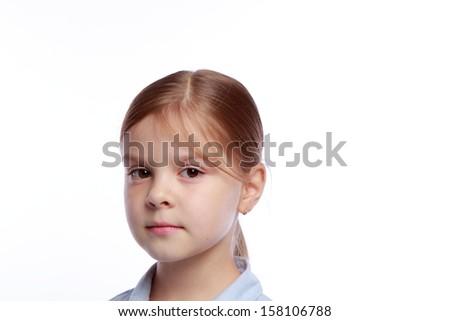 Closeup image of a beautiful little girl - stock photo