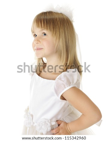 Closeup image of a beautiful young girl all in white.  On a white background. - stock photo