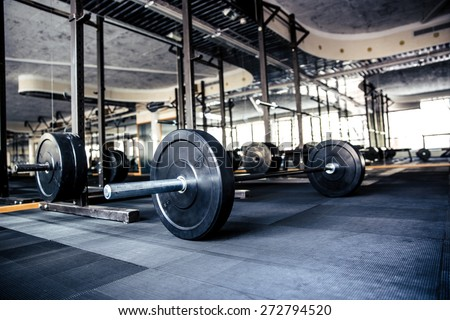 Closeup image of a gym interior with equipment - stock photo