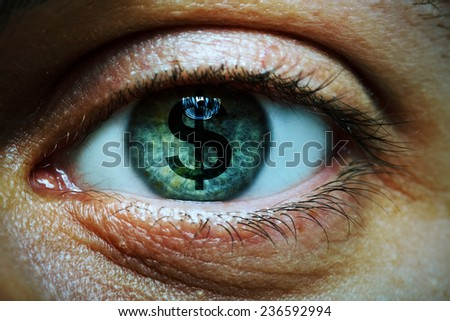 Closeup image of a man with a dollar symbol in his eye - stock photo