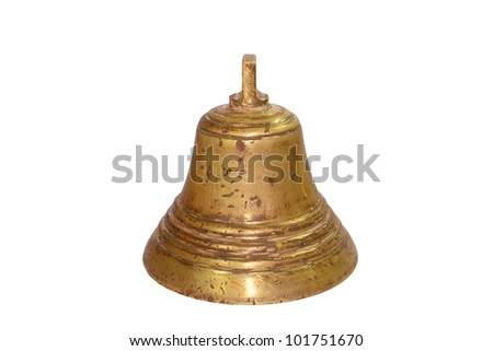closeup image of a vintage brass bell with clipping path included.