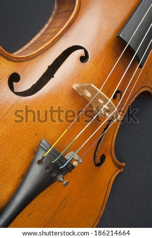 Closeup image of a violin against a black background
