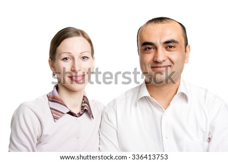 closeup image of a young interracial couple
