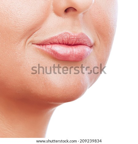Closeup image of a young womans lips