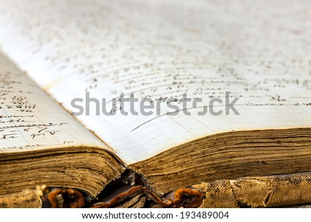 Closeup image of an old pharmacy book - stock photo