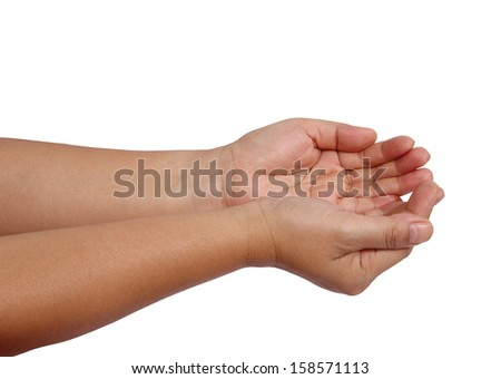Closeup image of asian woman open her hands on white background