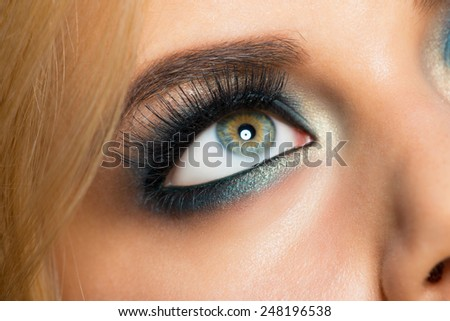 Closeup image of beautiful woman eye with fashion  makeup - stock photo