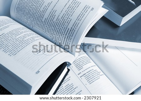 Closeup image of books opened - stock photo