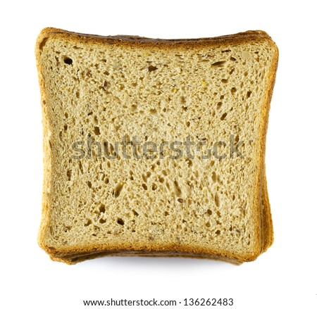 Closeup image of bread slices isolated on white