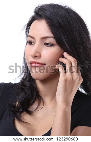 Closeup image of business woman call her mobile phone