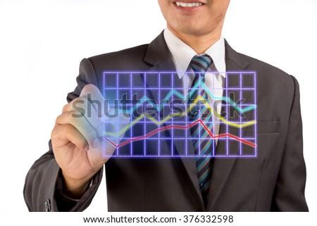Closeup image of businessman drawing business graph. - stock photo