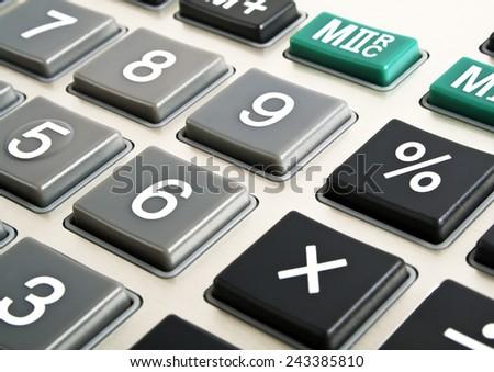 Closeup image of calculator keyboard - stock photo