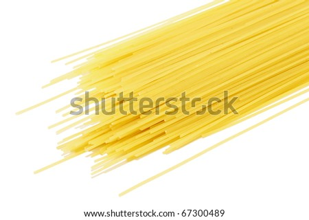 Closeup image of dry pasta, isolated on white background - stock photo