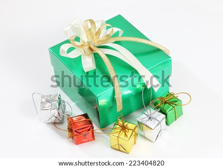 closeup image of green gift and little gift for christmas and celebration