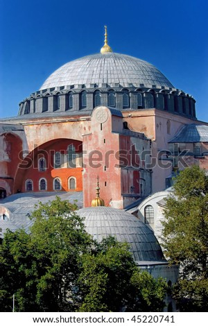 Closeup image of Hagia Sofia church in Istanbul, Turkey - stock photo