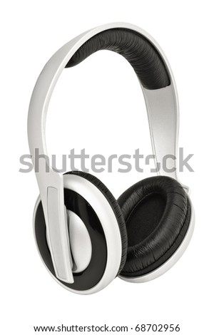 Closeup image of headphones, isolated on white background