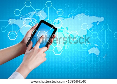Closeup image of human hands holding tablet - stock photo