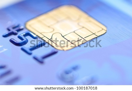 Closeup image of old blue credit card. - stock photo