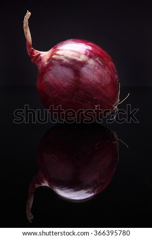 Closeup image of red onion on black background with reflection - stock photo