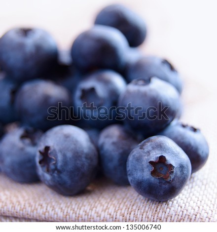 Closeup Image of Ripe Blueberries on the Fabric Serviette