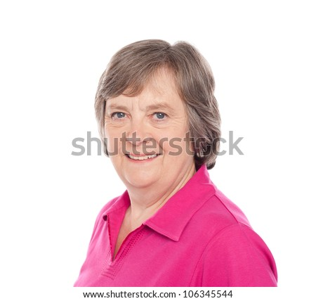 Closeup image of smiling aged lady isolated over white - stock photo