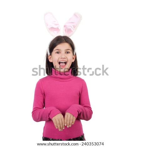 closeup image of the beautiful cute little crying girl in the hare ears - stock photo