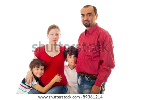 closeup image of the big family expecting the baby