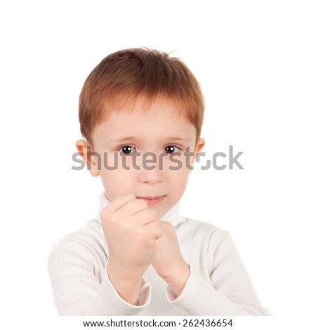 closeup image of the cute little boy fighting - stock photo