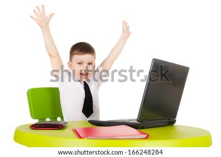 closeup image of the cute little businessman - stock photo