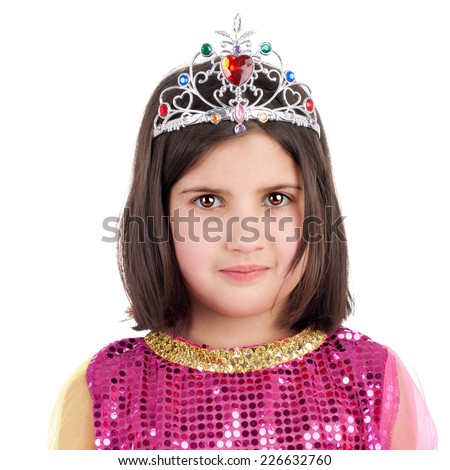 closeup image of the cute little girl in the eastern beauty costume - stock photo