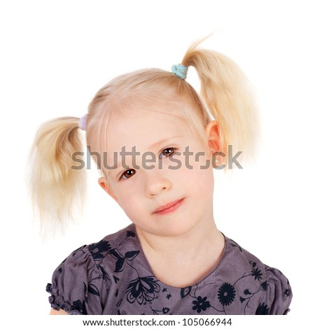 closeup image of the cute sweet little girl with the funny tails