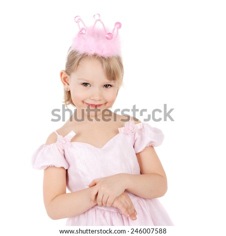 closeup image of the cute sweet smiling little child dressed as a princess - stock photo