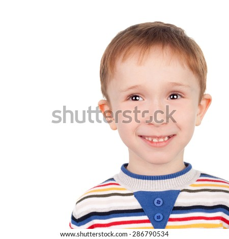 closeup image of the handsome smiling little boy - stock photo
