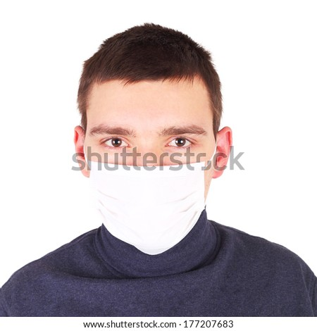 closeup image of the handsome young man in the medical mask