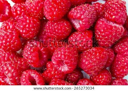 Closeup Image of the Juicy Raspberries. Beautiful Summer  - stock photo