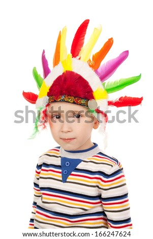 closeup image of the little American Indian - stock photo
