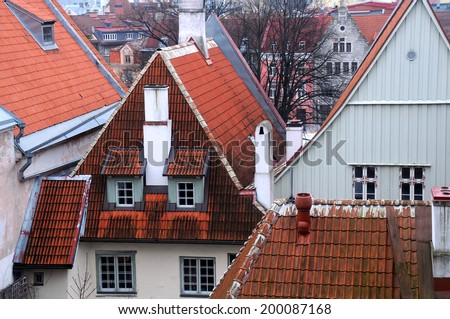 Closeup image of the Old Town district in Tallinn, Estonia - stock photo