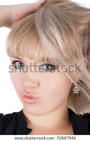 closeup image of the pretty blond girl