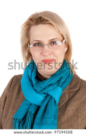 closeup image of the pretty young business woman - stock photo