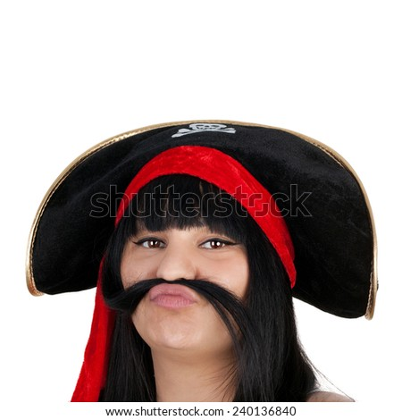 closeup image of the pretty young girl in the pirate hat - stock photo