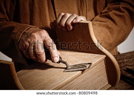 closeup image on hands of craftman