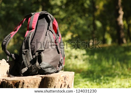 Closeup image tourist backpack at the summer forest - stock photo