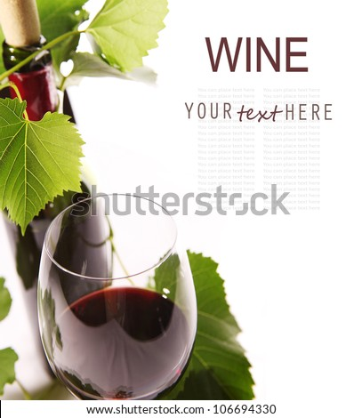 Closeup image wine goblet and bottle over white background