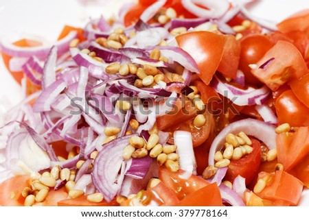 Closeup ingredients for a salad - sliced vegetables - stock photo